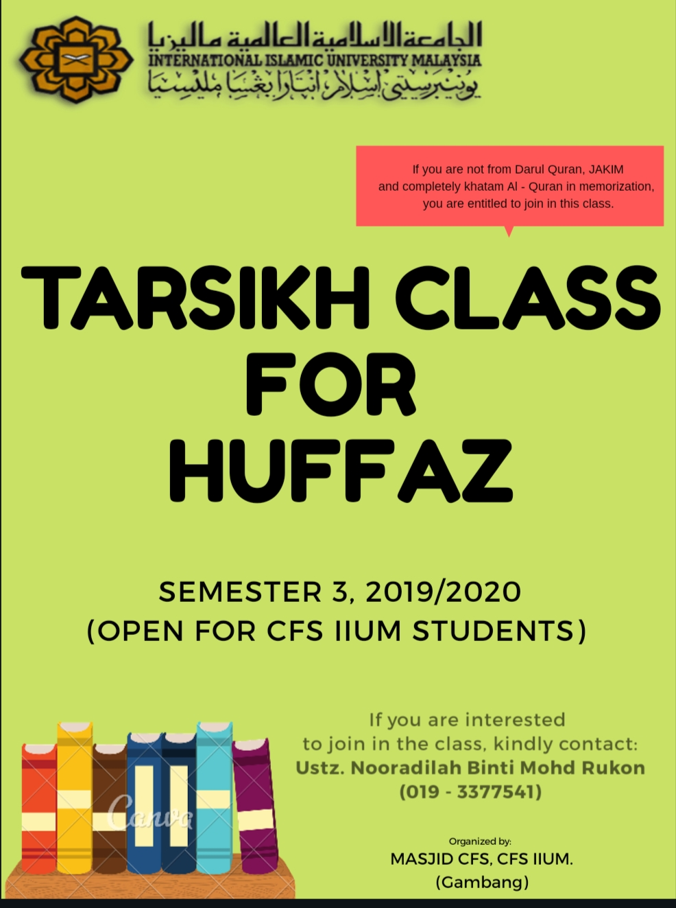 TARSIKH CLASS FOR CFS STUDENTS SEMESTER 3, 2019/2020