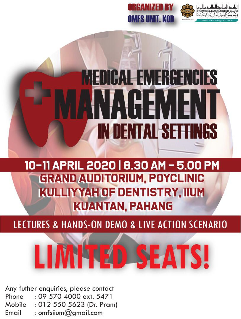Medical Emergencies Management in Dental Settings