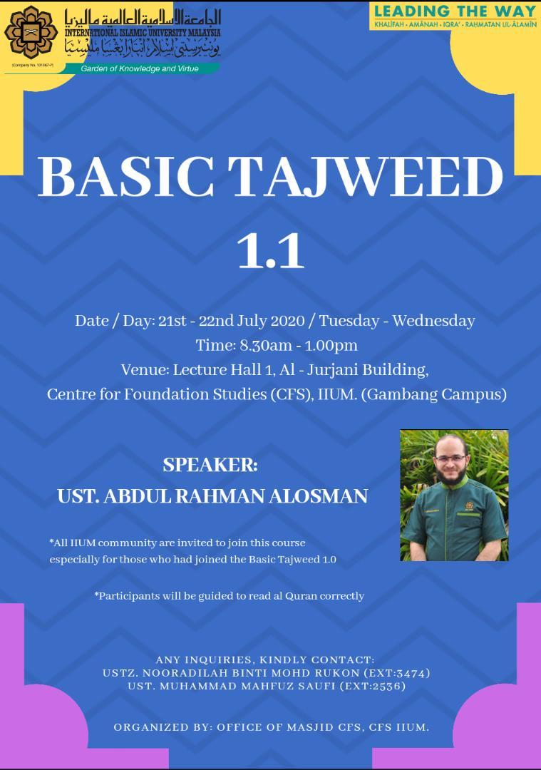 BASIC TAJWEED 1.1 COURSE