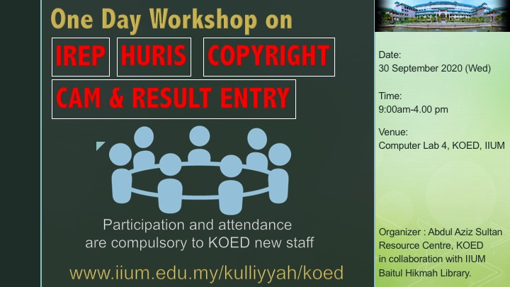 One Day Workshop on IREP, HURIS, COPYRIGHT & CAM AND RESULT ENTRY