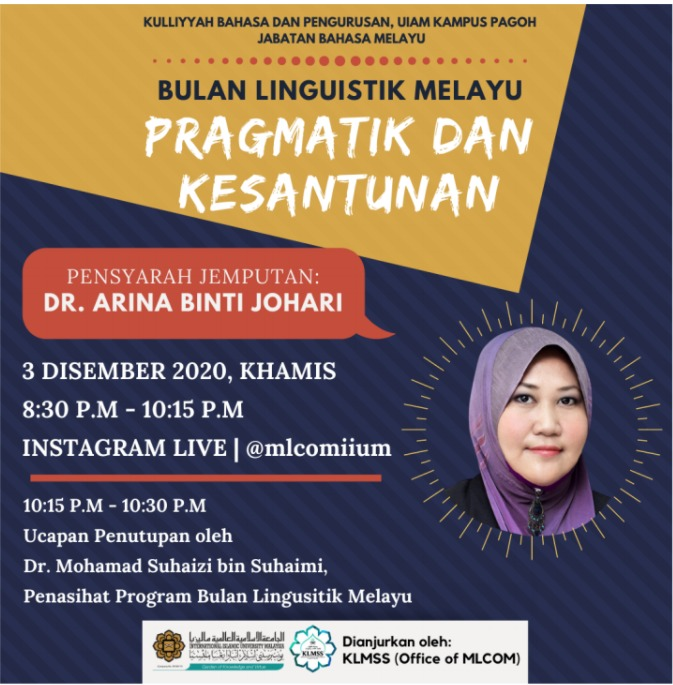 Bulan Linguistik Melayu : Pragmatik dan Kesantunan