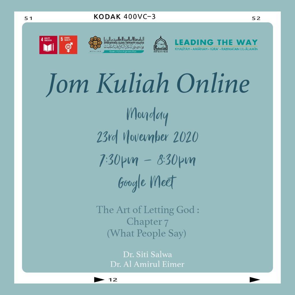 Jom Kuliah Online - The Art of Letting God