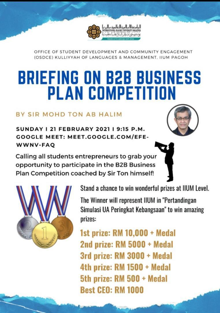 Briefing on B2B Business Plan Competition