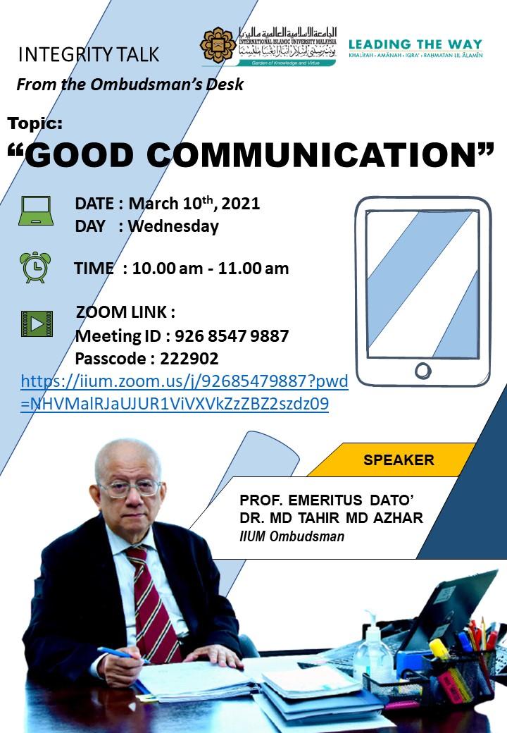 Integrity Talk on Good Communication