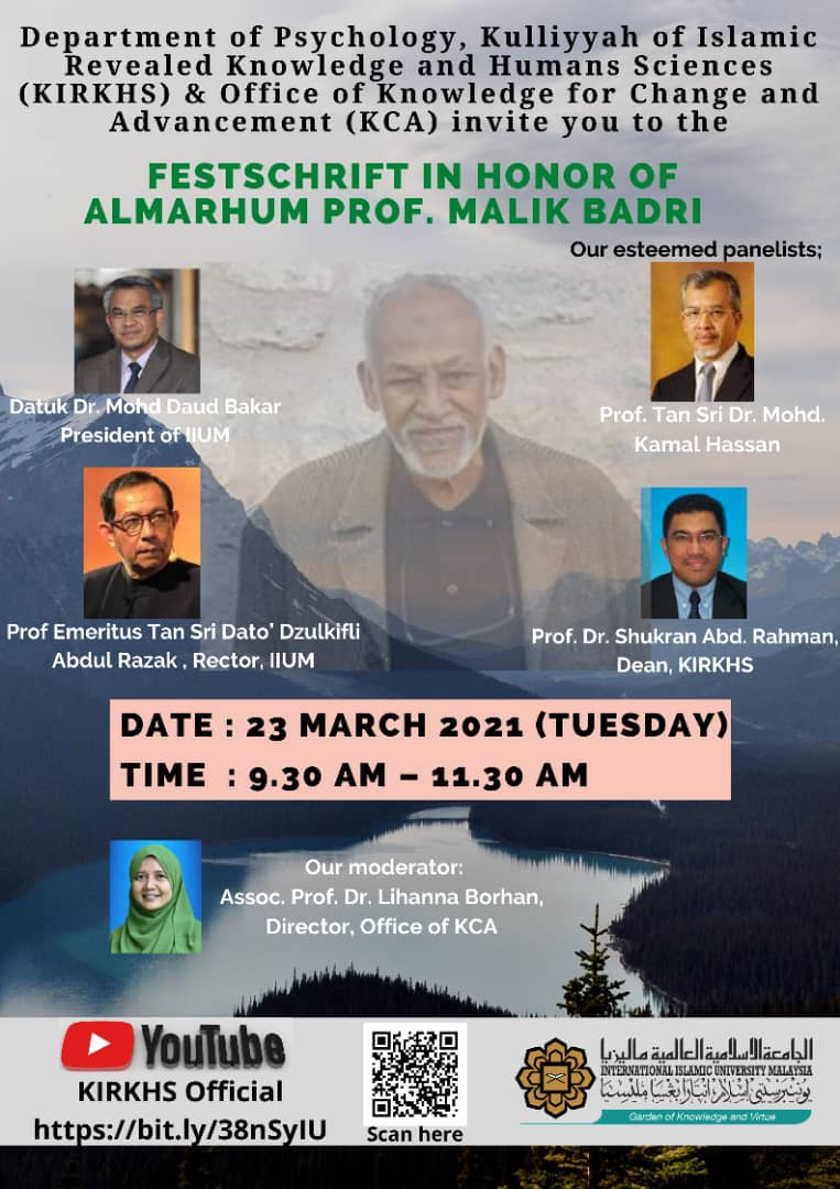 Festschrift in Honour of Almarhun Prof. Malik Badri