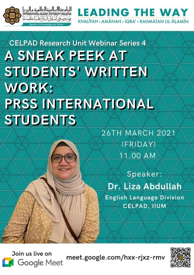 CELPAD Research unit Webinar Series 4: A Sneak Peek at Students' Written Work: PRSS International Students