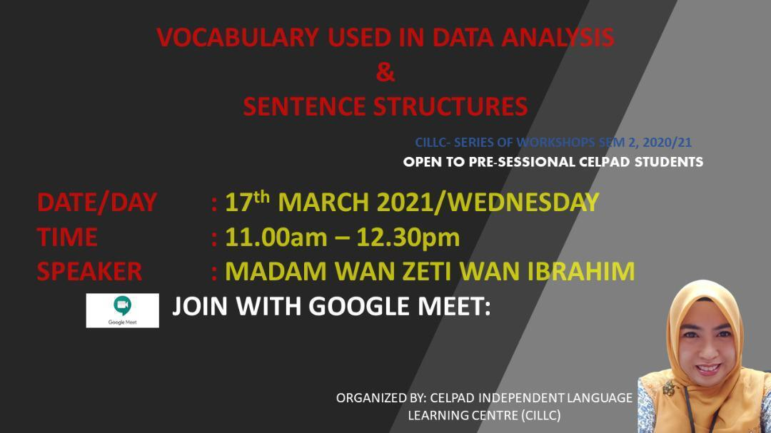 Vocabulary Used in Data Analysis & Sentence Structures