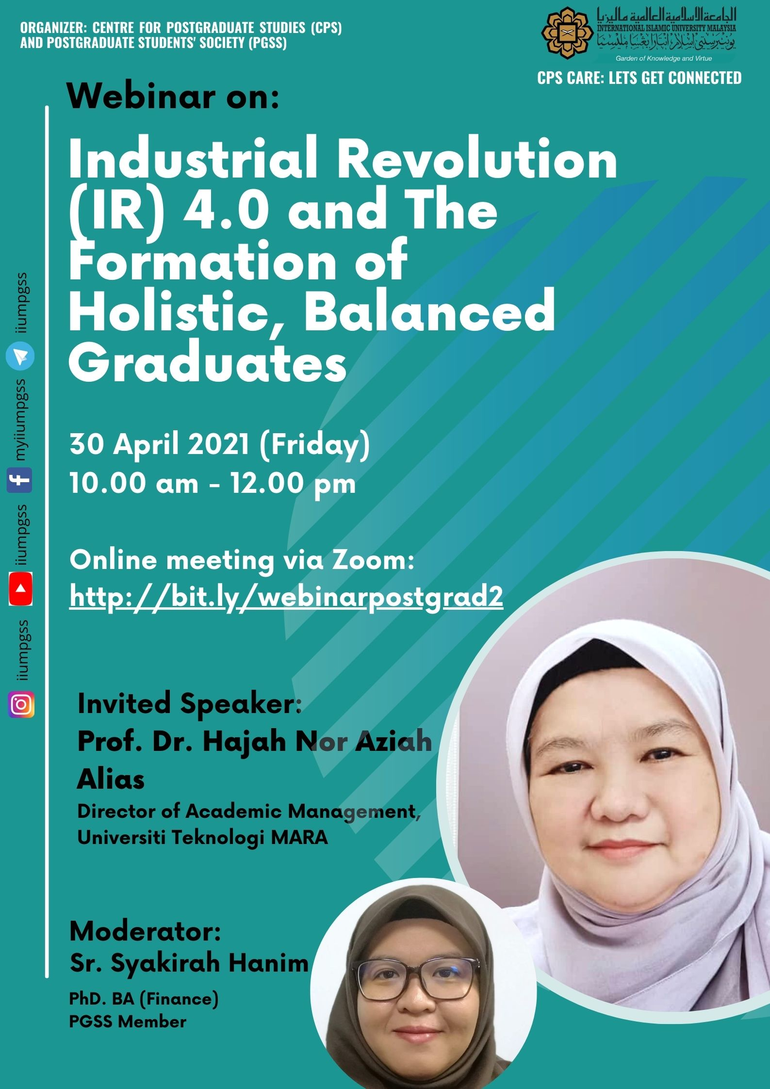 INVITATION TO ATTEND WEBINAR ON: INDUSTRIAL REVOLUTION (IR) 4.0 AND THE FORMATION OF HOLISTIC, BALANCED GRADUATES