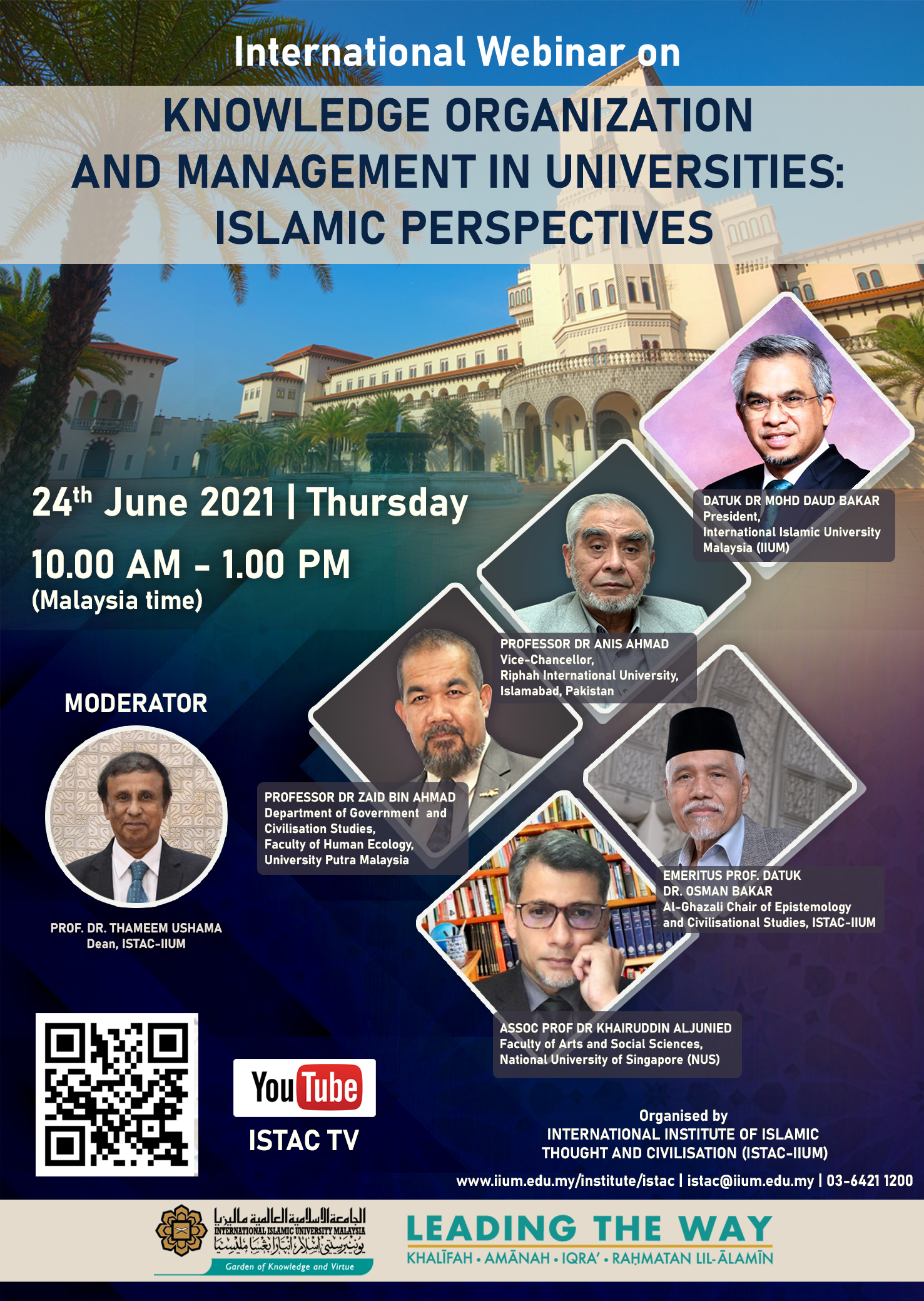 INTERNATIONAL WEBINAR ON KNOWLEDGE ORGANIZATION  AND MANAGEMENT IN UNIVERSITIES:  ISLAMIC PERSPECTIVES
