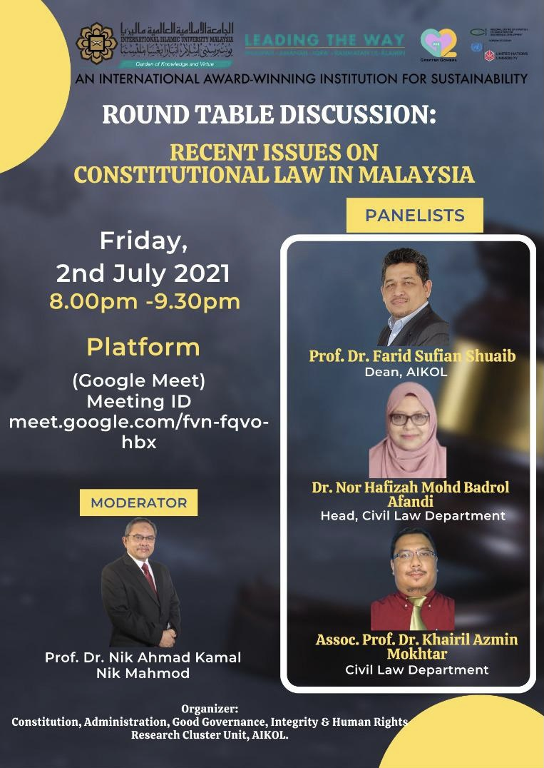 Round Table Discussion: Recent Issues on Constitutional Law in Malaysia