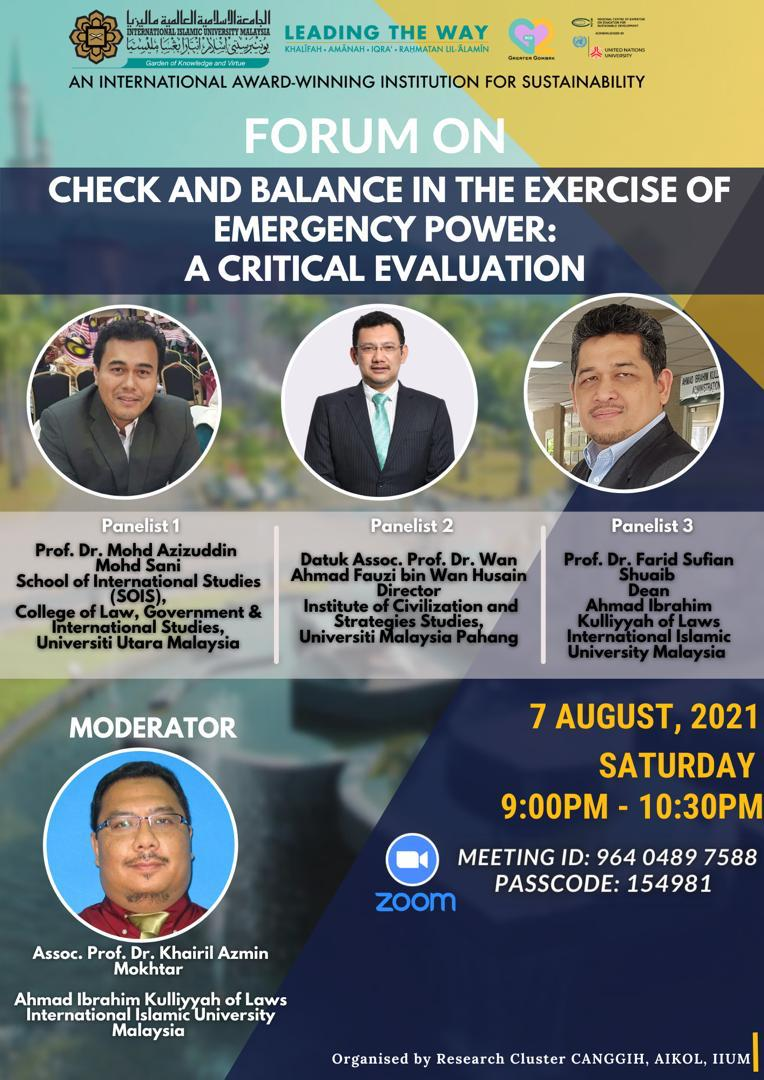 FORUM ON CHECK AND BALANCE IN THE EXERCISE OF EMERGENCY POWER: A CRITICAL EVALUATION