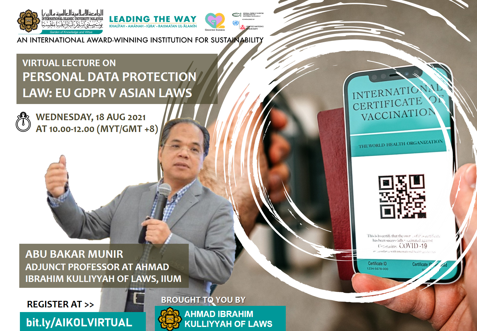 VIRTUAL LECTURE ON PERSONAL DATA PROTECTION LAW: EU GDPR V ASIAN LAWS