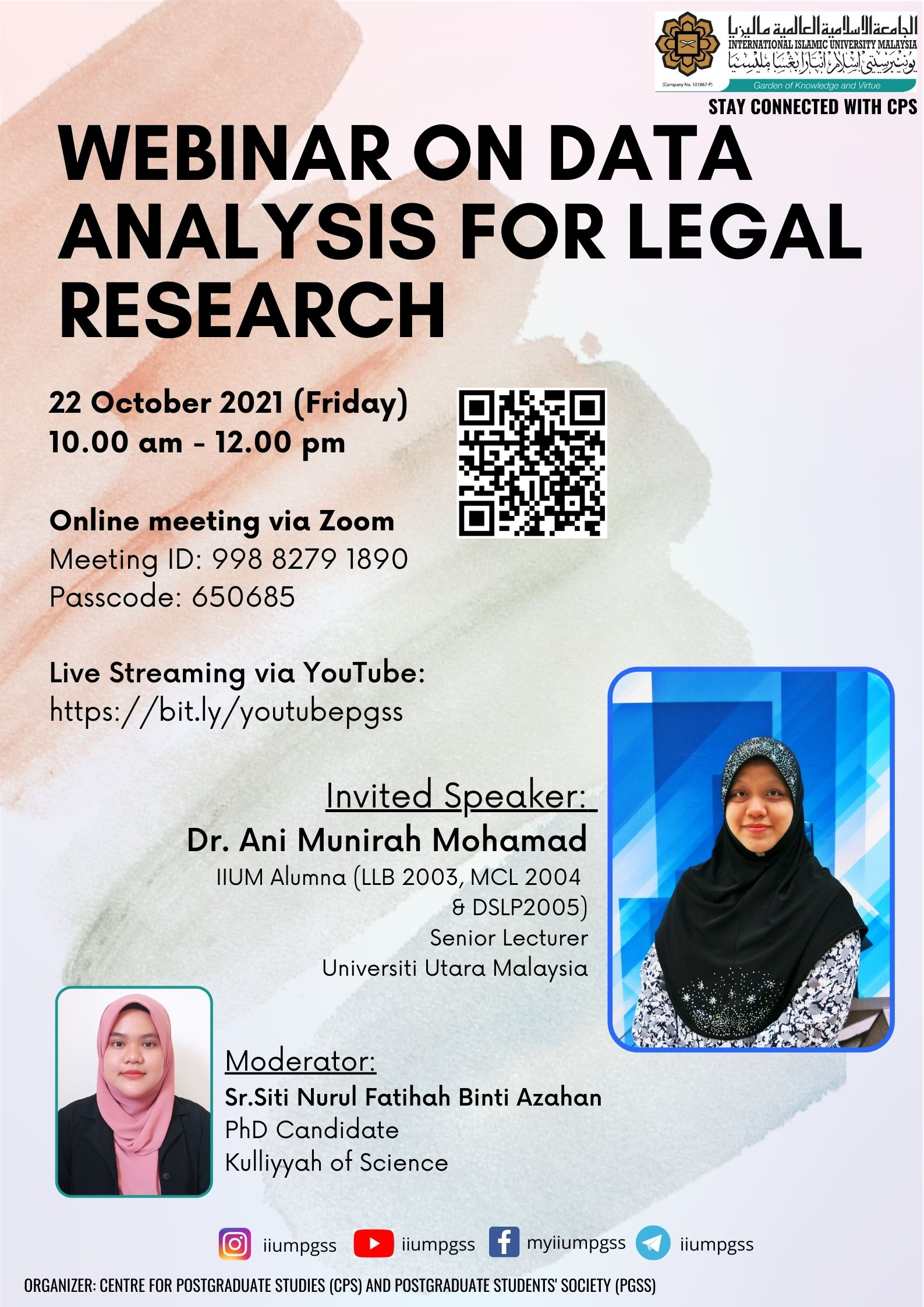 INVITATION TO ATTEND WEBINAR ON DATA  ANALYSIS FOR LEGAL RESEARCH