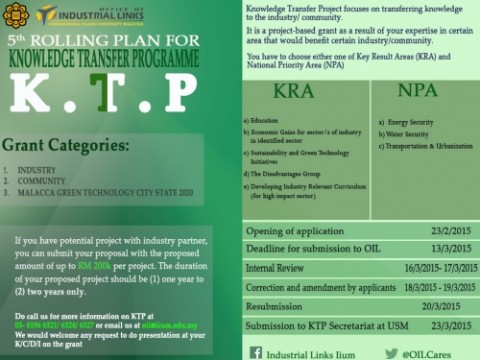 5th ROLLING PLAN FOR KNOWLEDGE TRANSFER PROGRAMME (KTP)