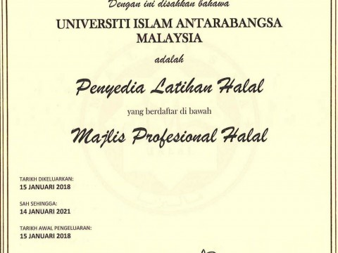 CERTIFIED TRAINING PROVIDER UNDER HALAL PROFESSIONAL BOARD JAKIM