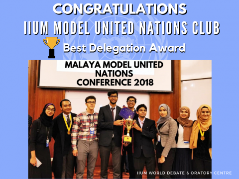 IIUM MUN Delegate received the Best Delegate Award.