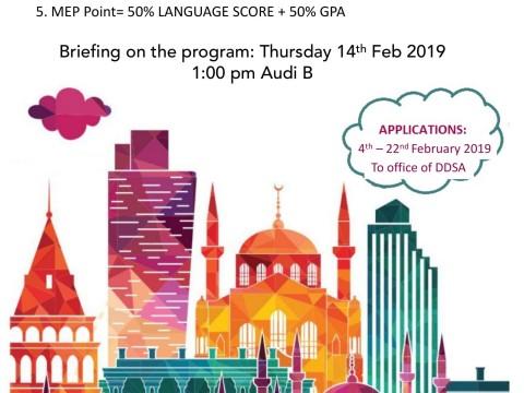 CALLING FOR APPLICATION: MEVLANA EXCHANGE PROGRAMME (2019/2020 SESSION) – YILDIZ TECHNICAL UNIVERSITY, TURKEY
