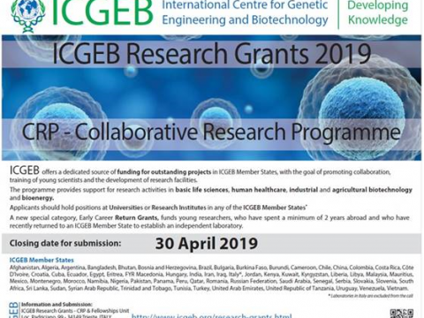 APPLICATION FOR COLLABORATIVE RESEARCH PROGRAMME (CRP) (3rd call) , INTERNATIONAL CENTRE FOR GENETIC ENGINEERING AND BIOTECHNOLOGY (ICGEB) RESEARCH GRANTS 2019