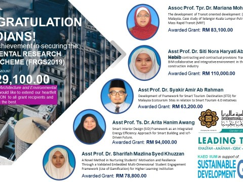 Congratulations to the recepient of FRGS Grant Phase 1 - 2019!