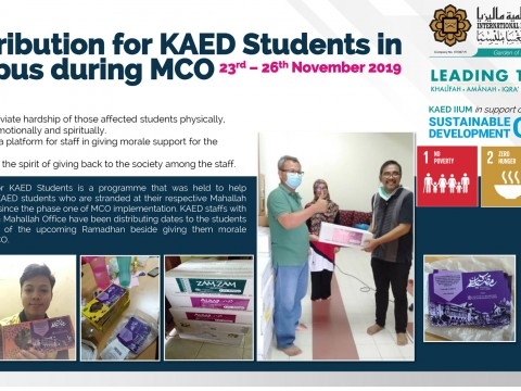 Contributions for KAED Students in campus during MCO