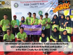 CONGRATULATIONS TO QUANTITY SURVEYING STUDENTS FOR PARTICIPATING IN RISM CHARITY RUN 2018