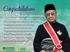 """Congratulations YAB Tun Dr. Mahathir Mohamad on the conferment of the """"Grand Cordon of the Order of the Paulownia Flowers"""" by Emperor Akihito of Japan"""
