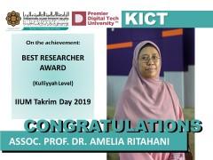 Congratulations to  Assoc. Prof. Dr. Amelia Ritahani