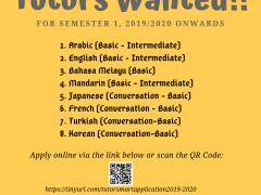 SMART Pagoh : Tutors wanted for semester 1, 2019/2020