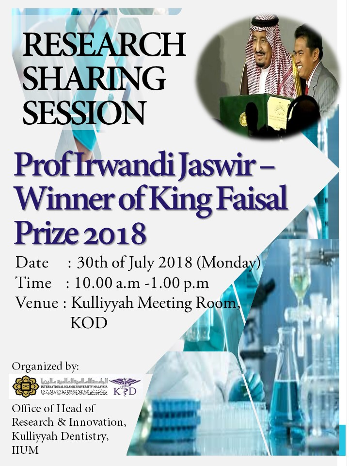 Research Sharing Session with Prof Irwandi Jaswid- Winner of King Faisal International Prize 2018
