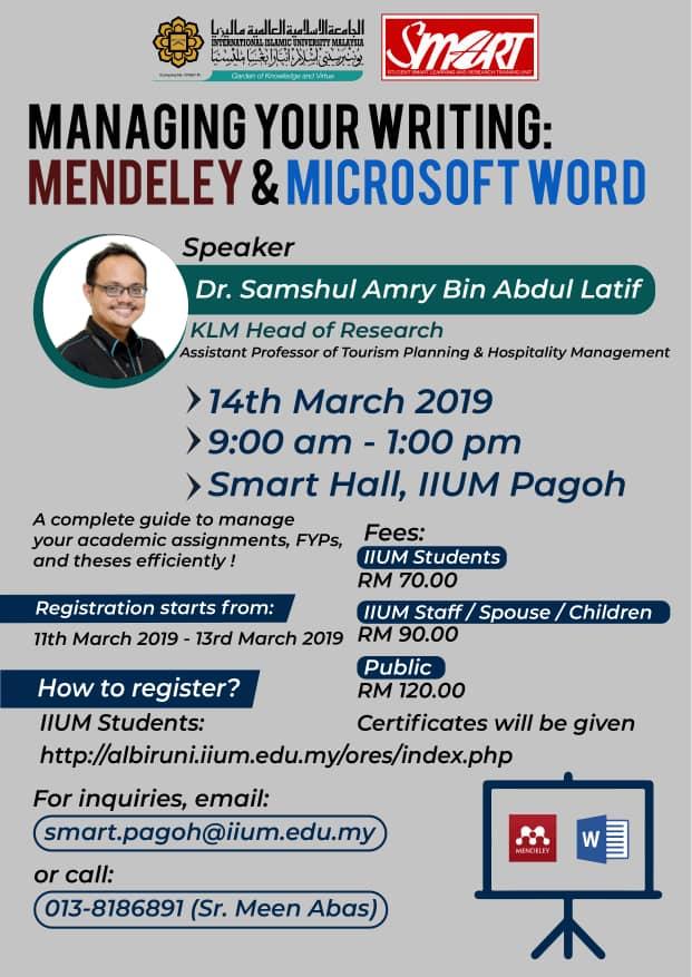 Managing your writing : Mendeley & Microsoft Word