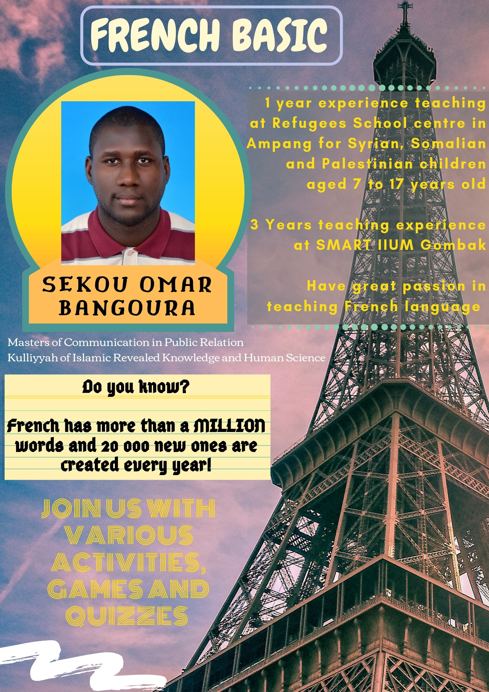 TUTOR PROFILE SEM 3, 2018/2019 : FRENCH