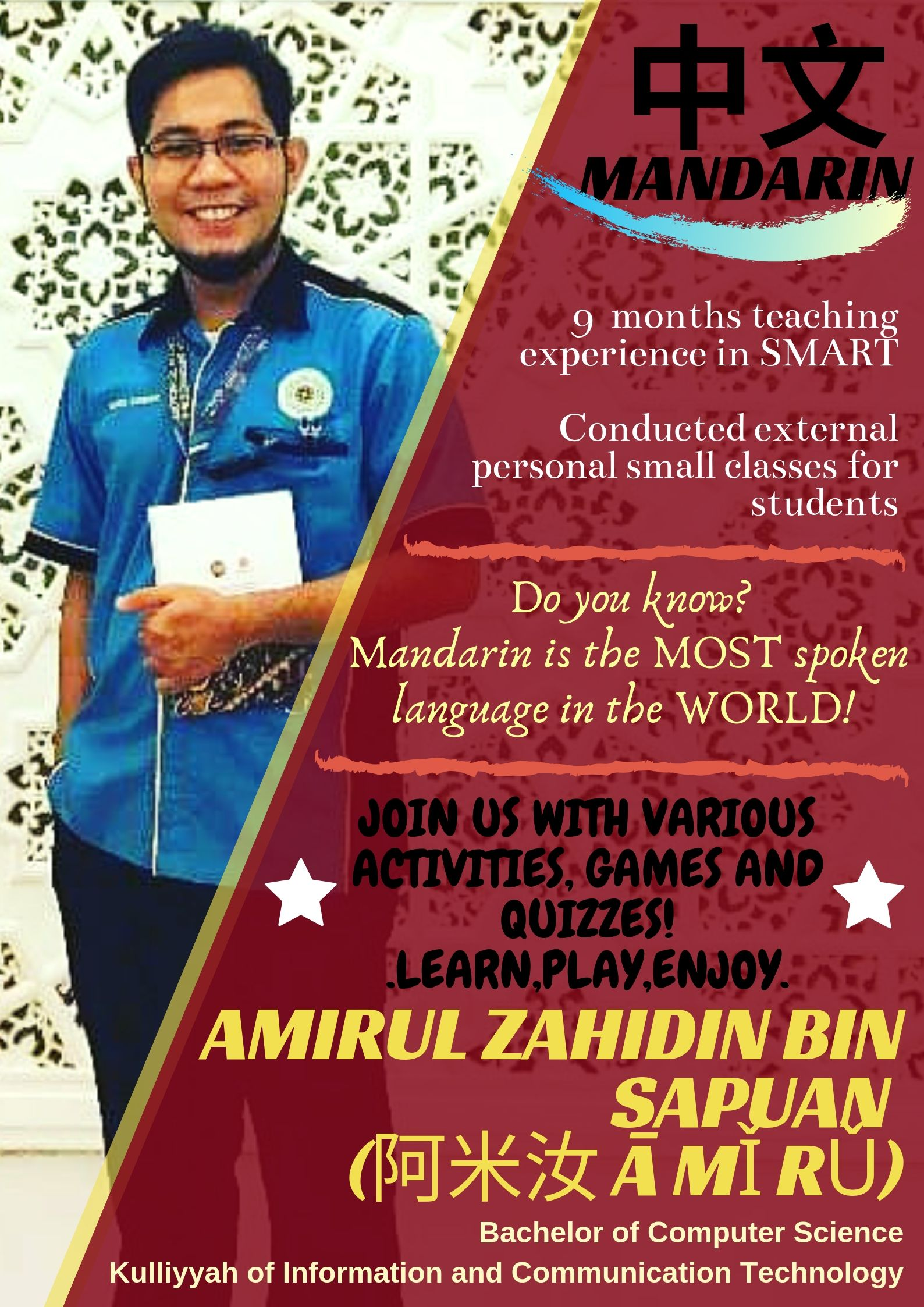 TUTOR PROFILE SEM 3, 2018/2019 : MANDARIN BASIC