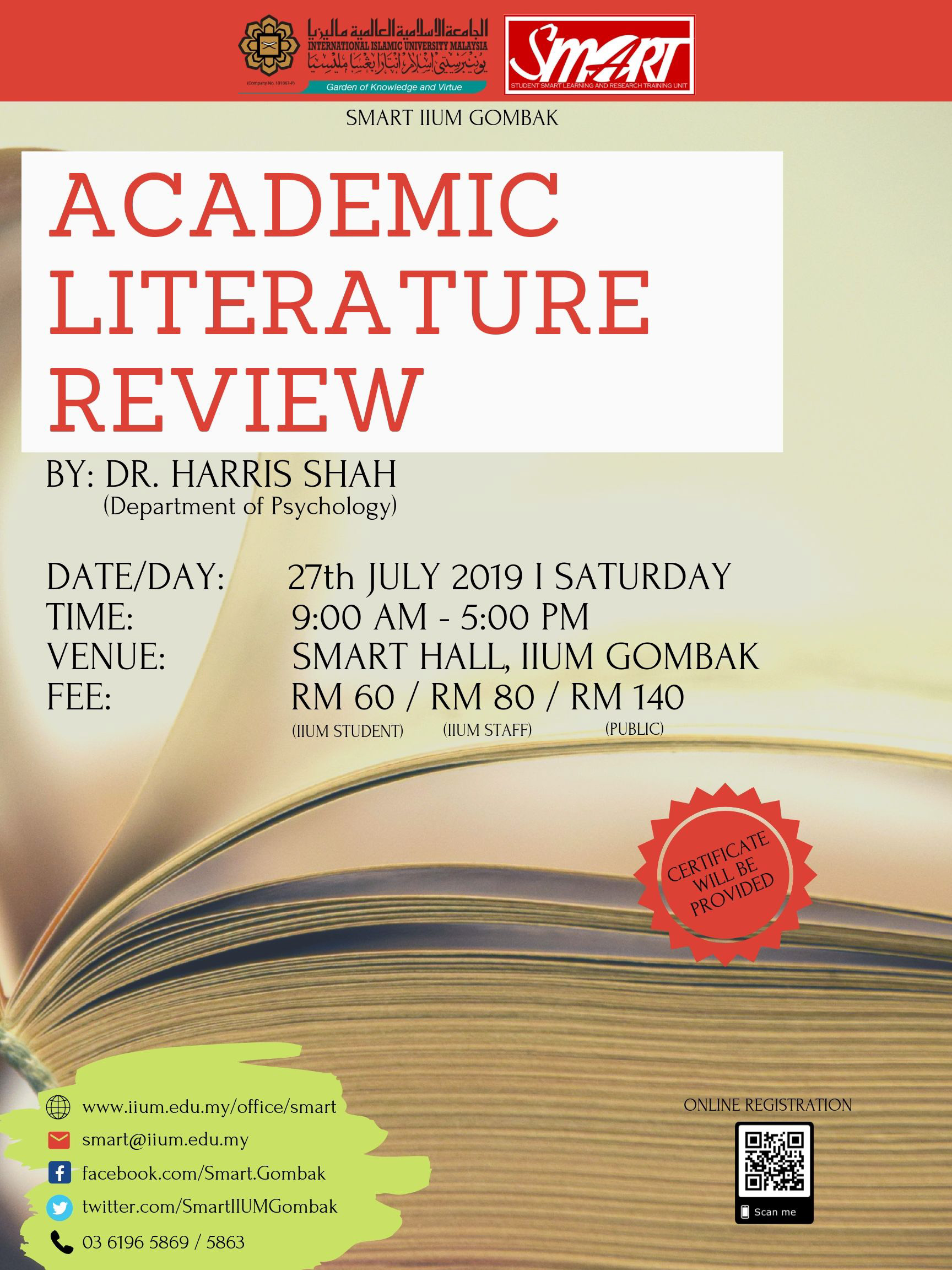 WORKSHOP : ACADEMIC LITERATURE REVIEW