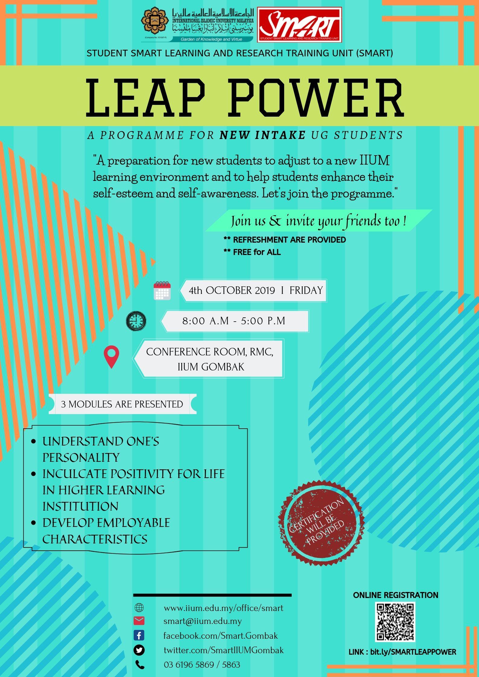LEAP POWER FOR UG INTAKE, SEM 1, 2019/2020