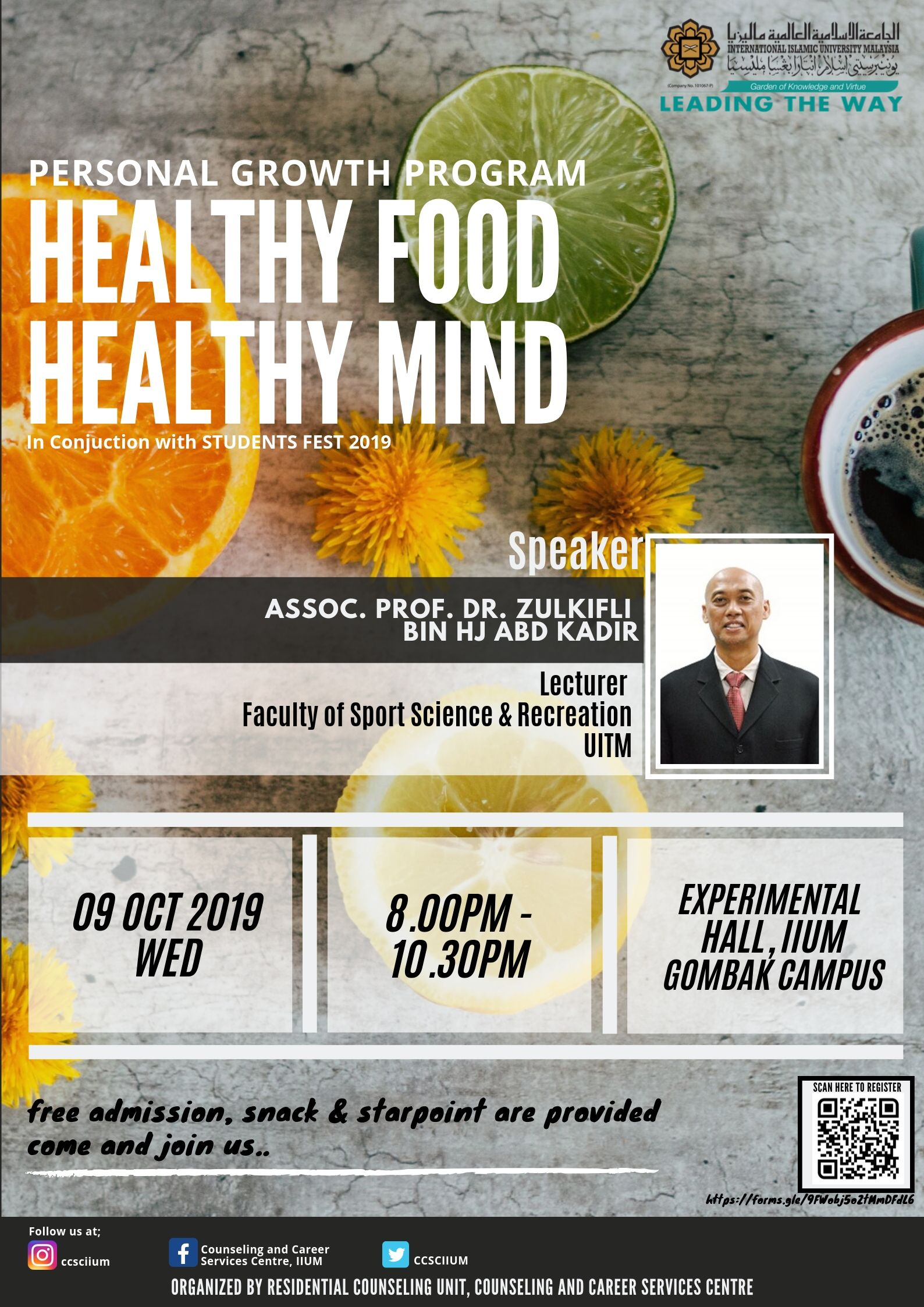 PERSONAL GROWTH PROGRAM : HEALTHY FOOD HEALTHY MIND