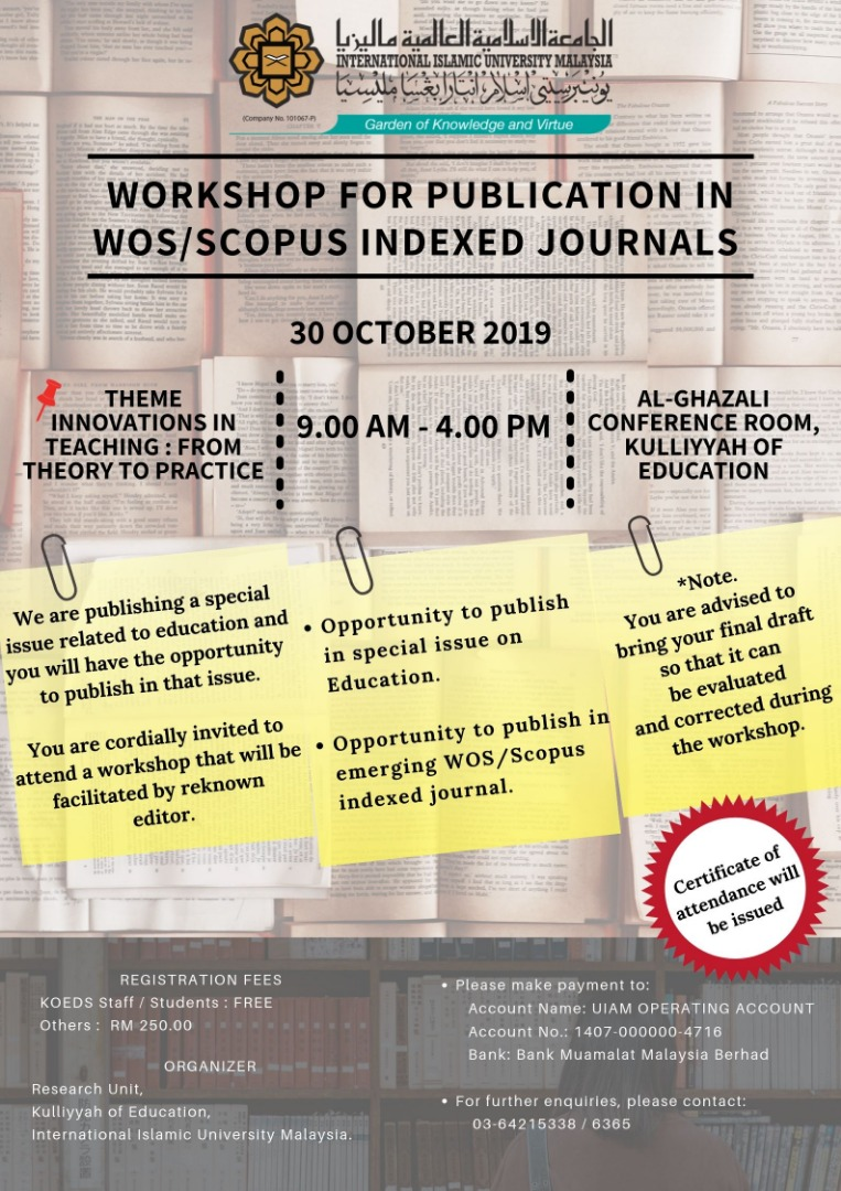 Workshop for Publication in WOS/Scopus Indexed Journal