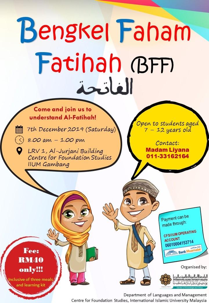 JOIN US AT BENGKEL FAHAM FATIHAH