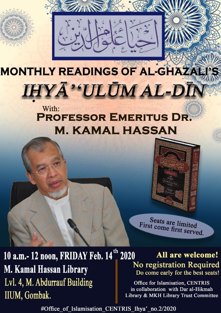MONTHLY READINGS OF AL-GHAZALI'S  ( IHYA' 'ULUM AL-DIN )