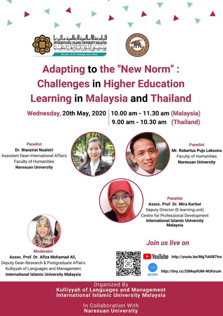 """Adapting to the """"New Norm"""" : Challenge in Higher Education Learning in Malaysia and Thailand"""